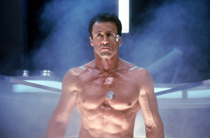 Sylvester Stallone in the film Demolition Man looking ripped