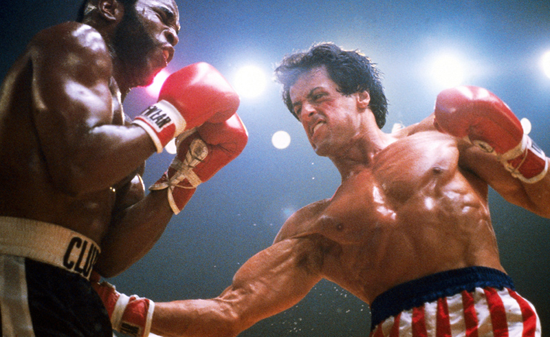 Sylvester Stallone fighting Mr T in Rocky