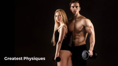 Fit and healthy man and woman holding dumbbells on black background