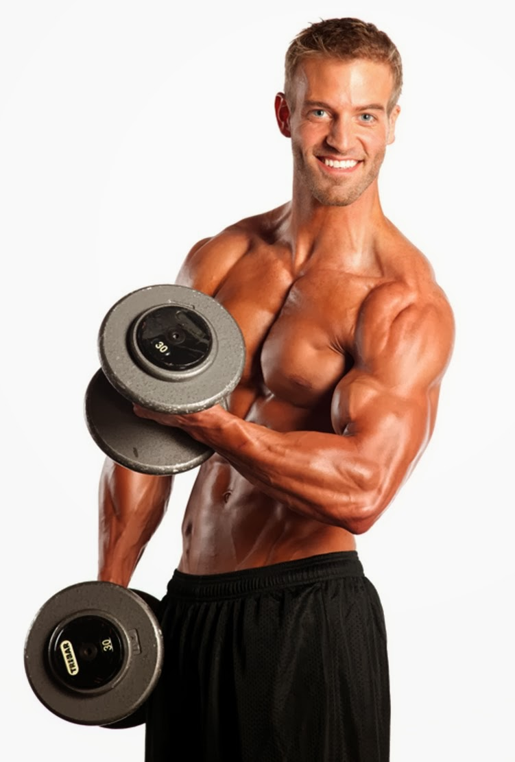Ben Booker posing in a photo shoot with dumbbells in his hands, looking muscular