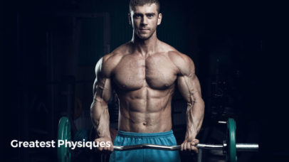 Male bodybuilder, fitness model trains in the gym on bicep curl