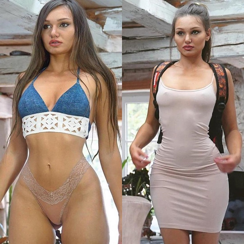 Carinnha White in two difference pictures looking fit and lean