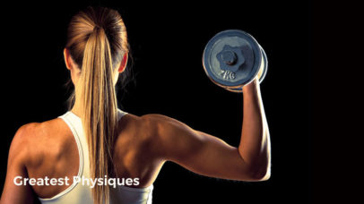 Dark-haired beautiful women lifting a dumbbell in one hand on black background