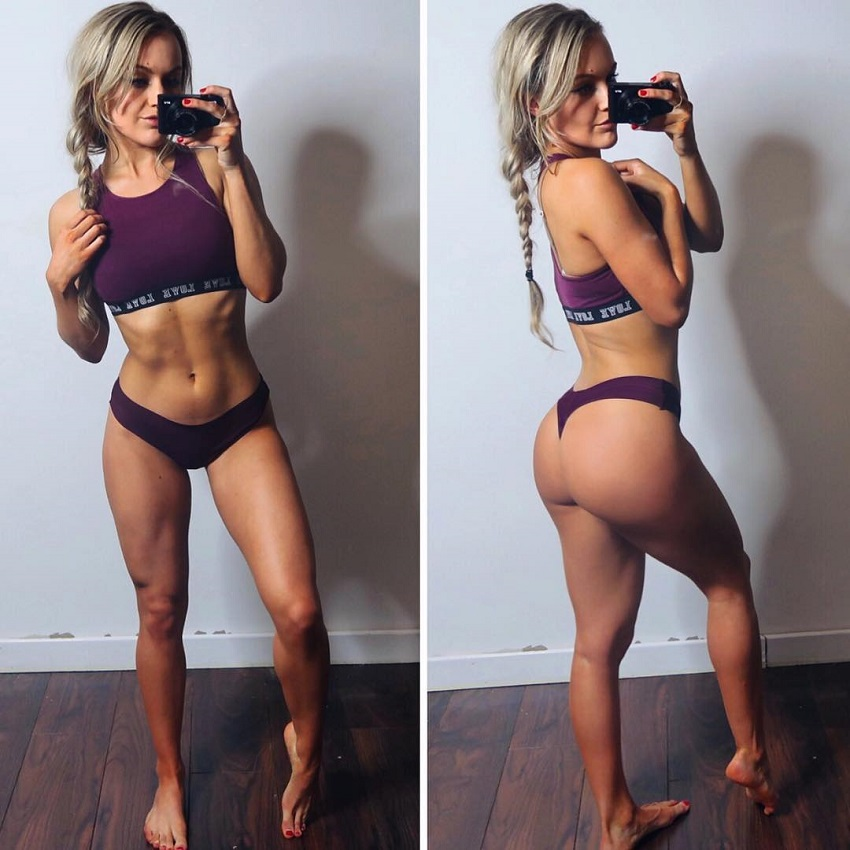 Jane Campbell taking a selfie of her lean physique