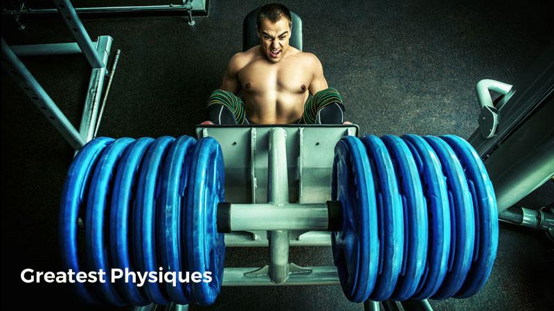 Strong athlete lifting heavy blur plates on a leg press