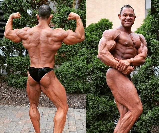 Matt Porter in two different poses flexing his ripped and big muscles