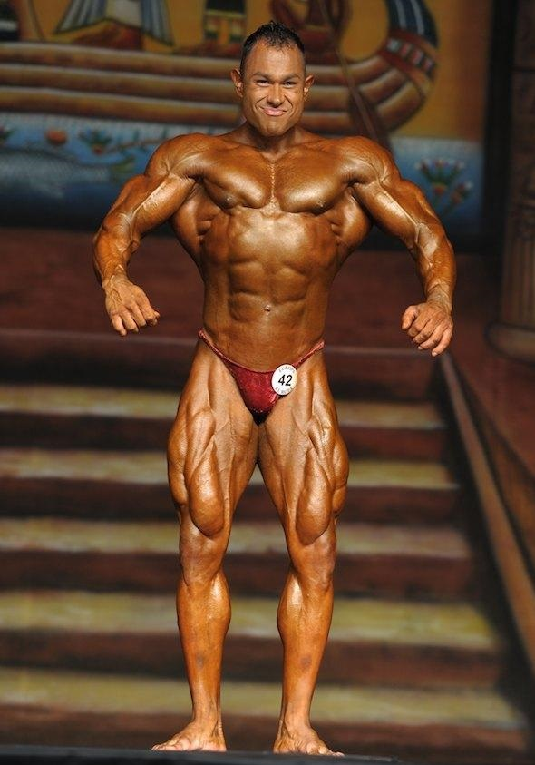 Matt Porter posing on a bodybuilding stage