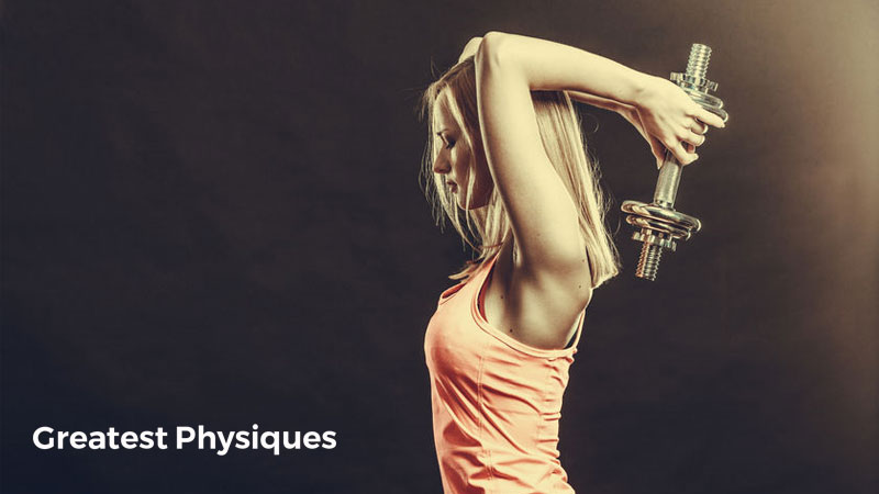Blonde-haired woman athlete performing dumbbell triceps extension