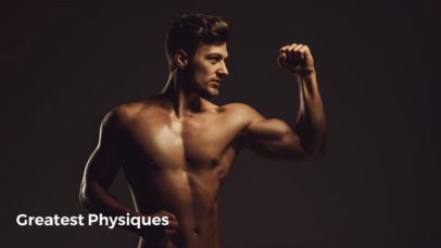 Young man athlete posing biceps curl on black background