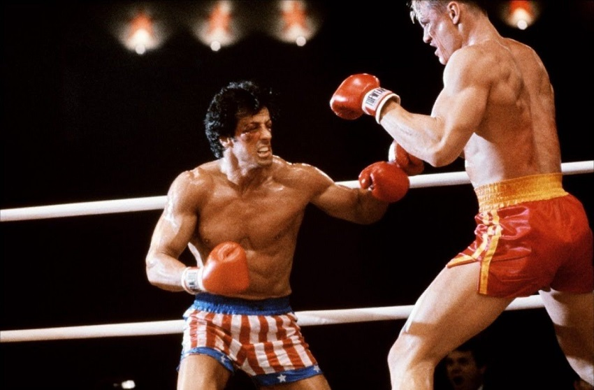 Dolph Lundgren fighting with Rocky Balboa in Rocky IV