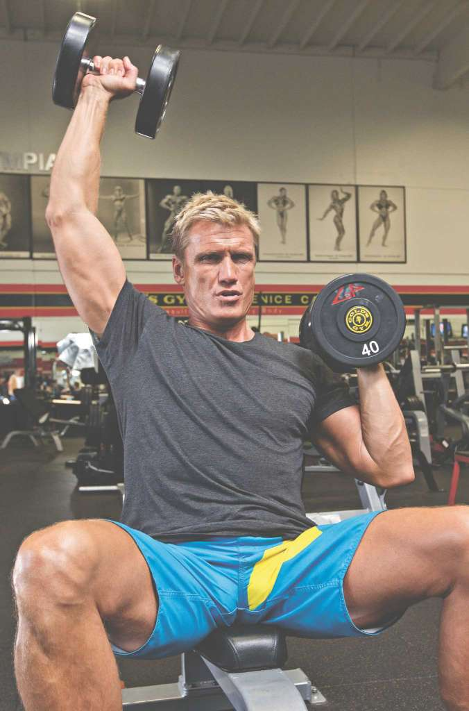 Dolph Lundgren doing sholder press in Gold's Gym Venice