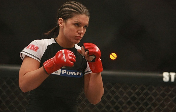 Gina Carano during a MMA fight.
