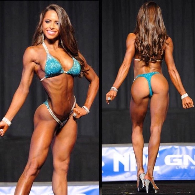 Jade Douglas-Hiley posing on a bikini stage looking fit and lean