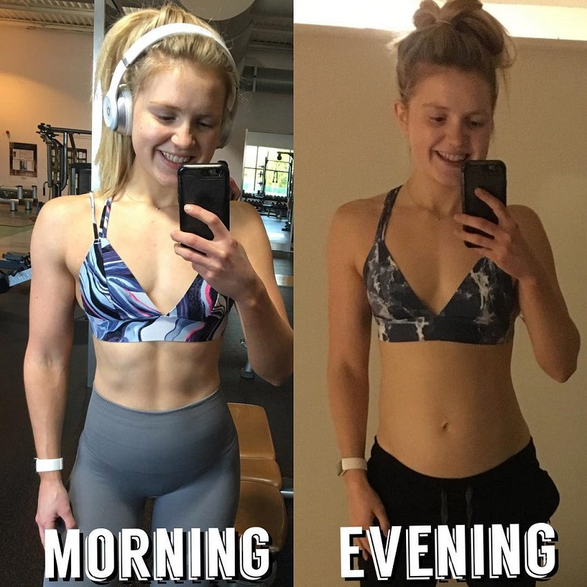Lauren Tickner's morning-evening body transformation