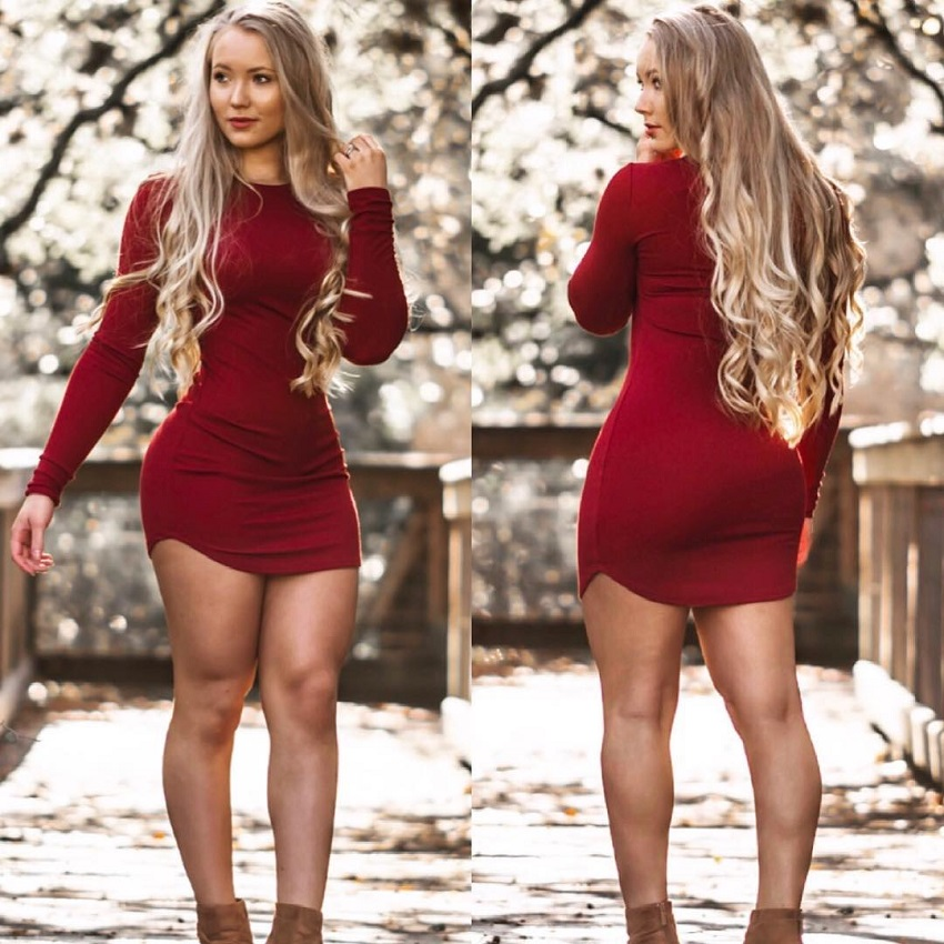 Shae LaShae wearing an exotic red dress looking curvy and fit
