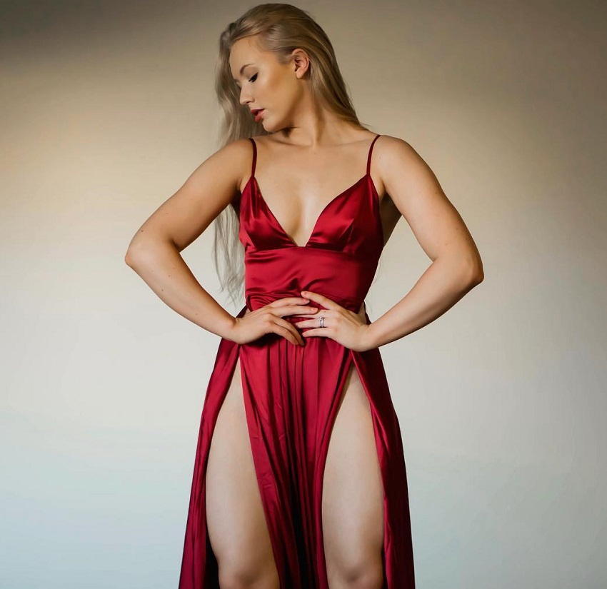 Shae LaShae in a silk red dress looking healthy and fit