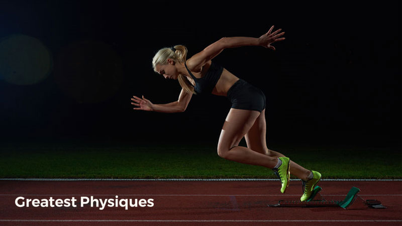 Blonde-haired, female athlete sprinting from blocks on a black background