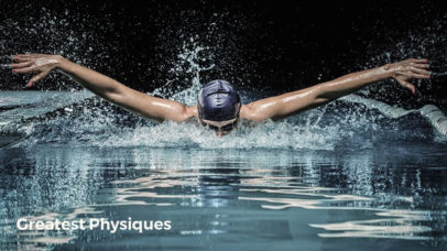 Professional swimming athlete performing butterfly