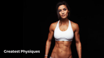 Female bodybuilder posing with lean muscle six pack abs on black background