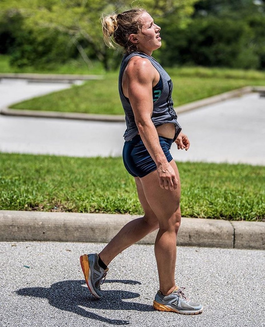 Alexis Johnson walking down the street looking fit and strong