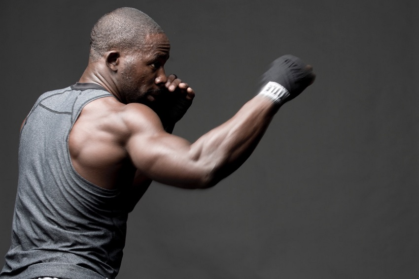 Gideon Akande doing shadowboxing looking fit and lean