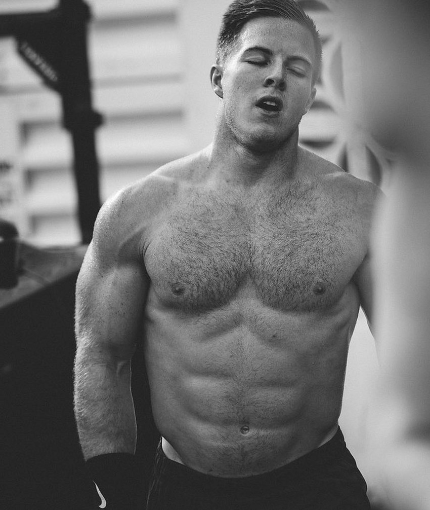 Noah Ohlsen standing shirtless during a training session, looking muscular and lean