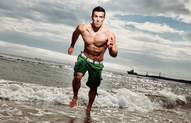 Scott Baptie running on the beach