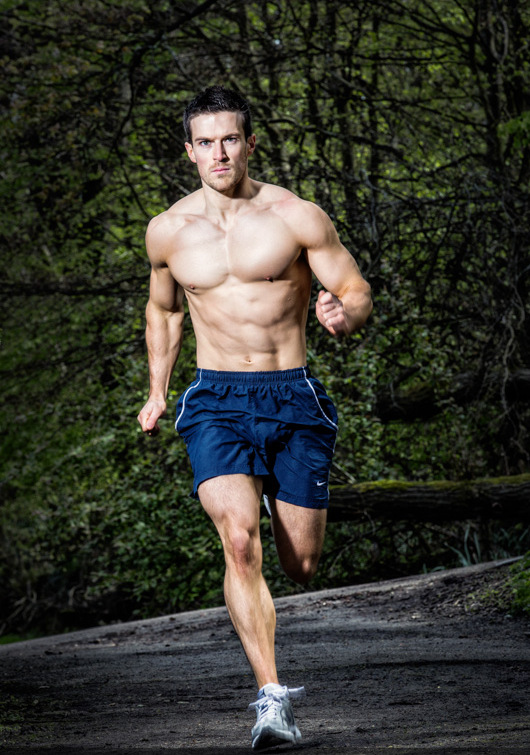 Scott Baptie running shirtless outdoors looking fit and lean