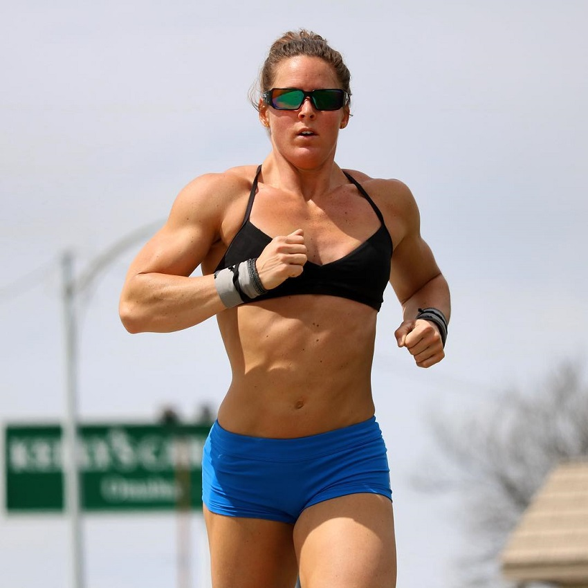 Stacie Tovar running outdoors looking fit and lean
