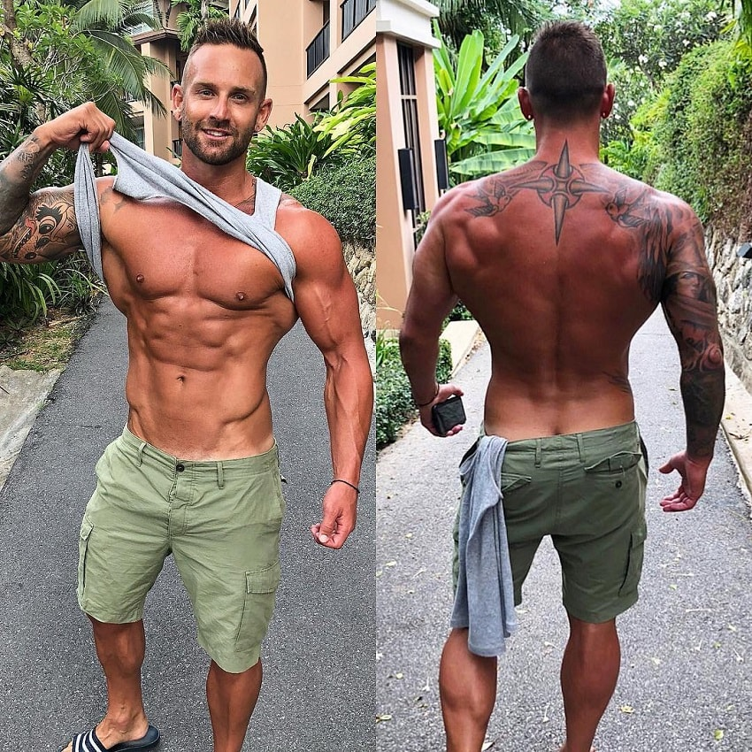 Joel Bushby flexing his abs and backs in two different photos
