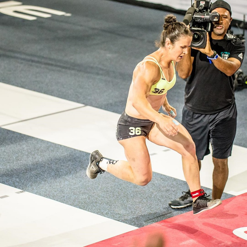 Kari Pearce running during a CrossFit competition