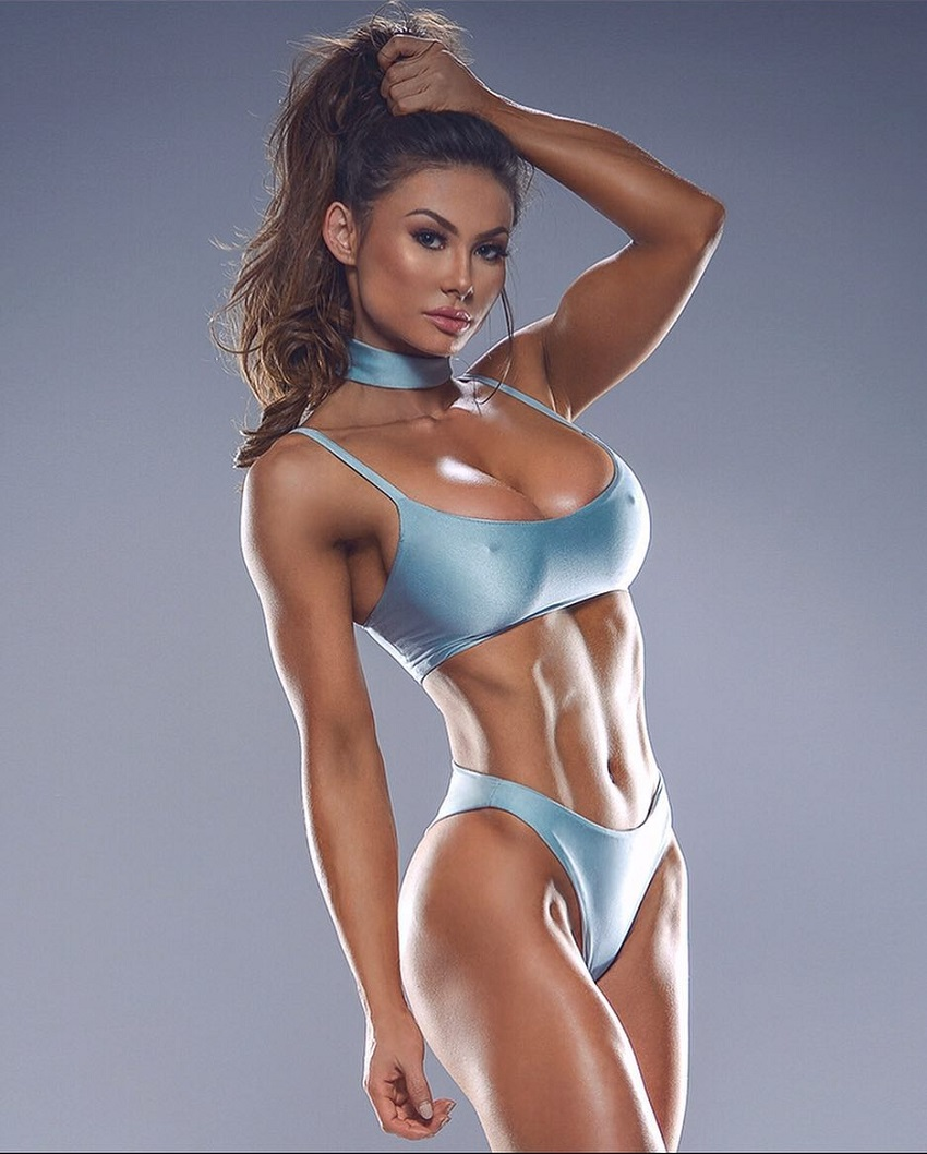 Michie Peachie showing off her lean and toned physique in a photo shoot