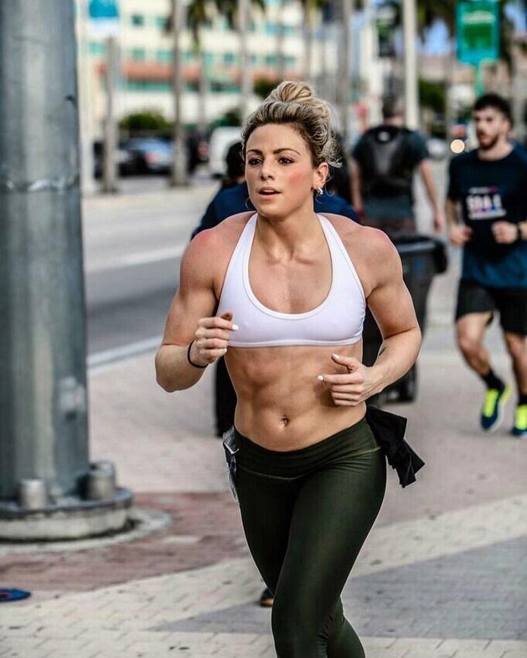 Tiffany Szemplinski running during a CrossFit event
