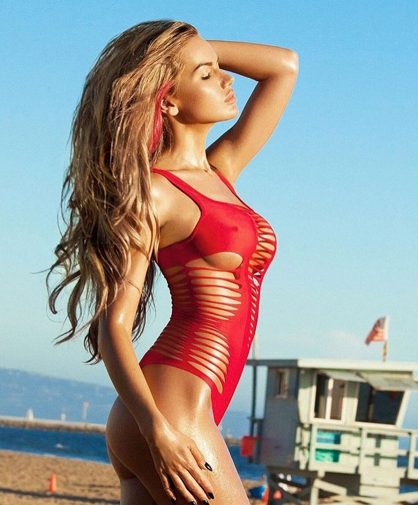 Anella Miller posing in an exotic red bikini looking awesome