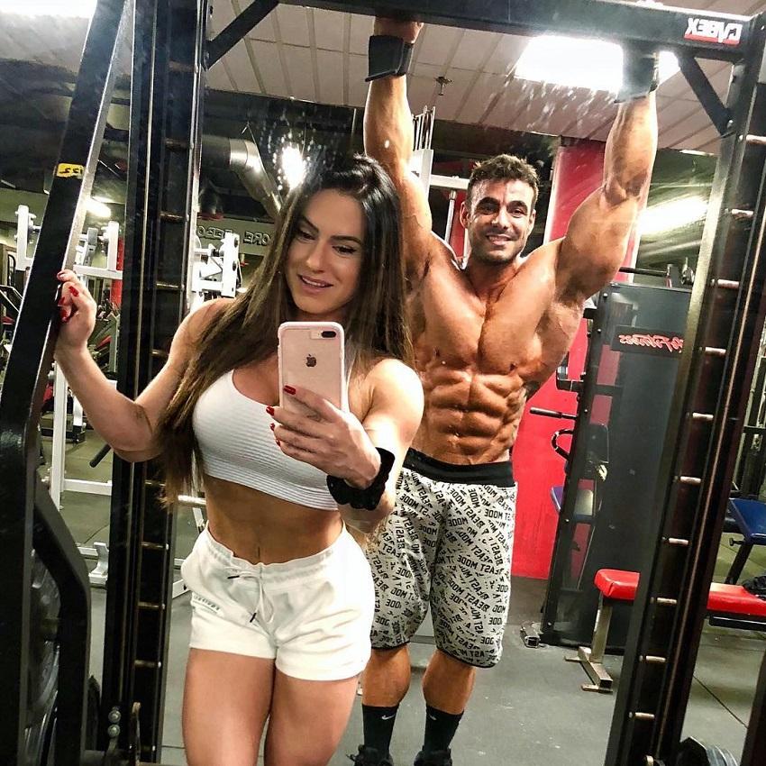Karen Ranocchia Brandao posing for a photo with Raphael Brandao looking fit