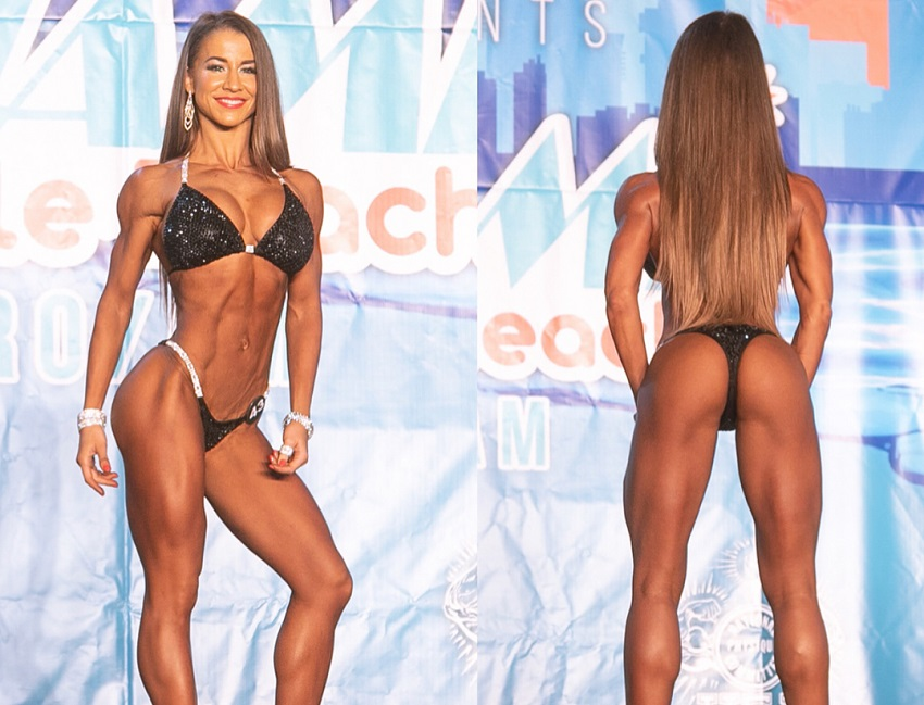 Nika Lazutina standing on the bikini stage looking ripped and toned