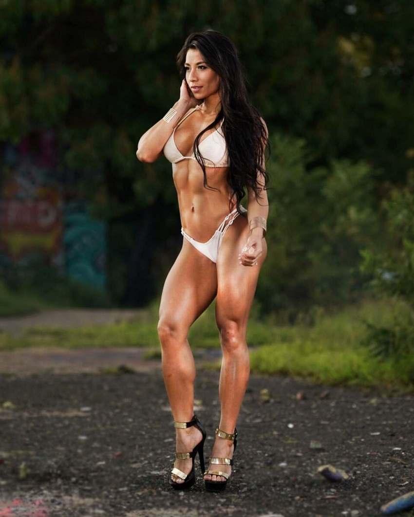 Stephanie Ayala posing for the photo in her bikini looking toned and fit