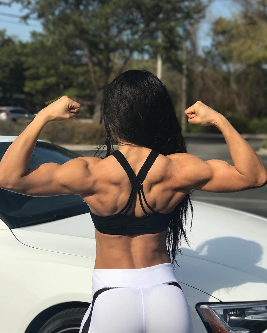 Stephanie Ayala doing a back double biceps flex