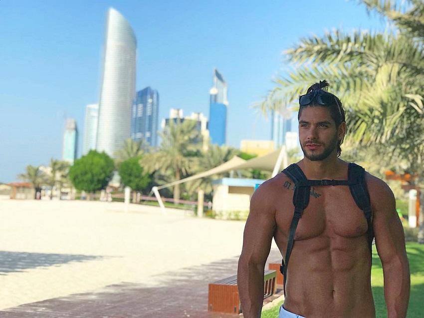 Paul Iskandar enoying his vacation in an exotic city near sea, looking fit