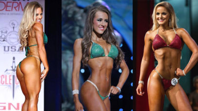 three bikini model competitors on stage