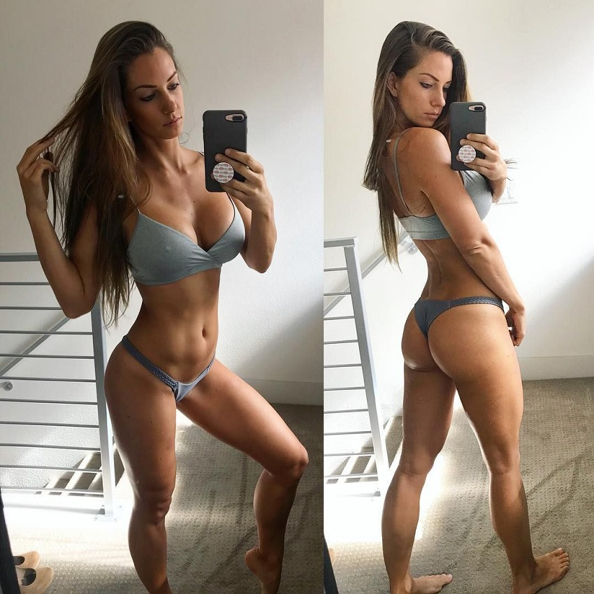 Janna Breslin taking a selfie of her toned body