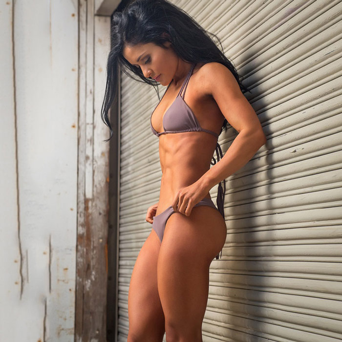Jessica Arevalo showing high protein approach to bikini model diet