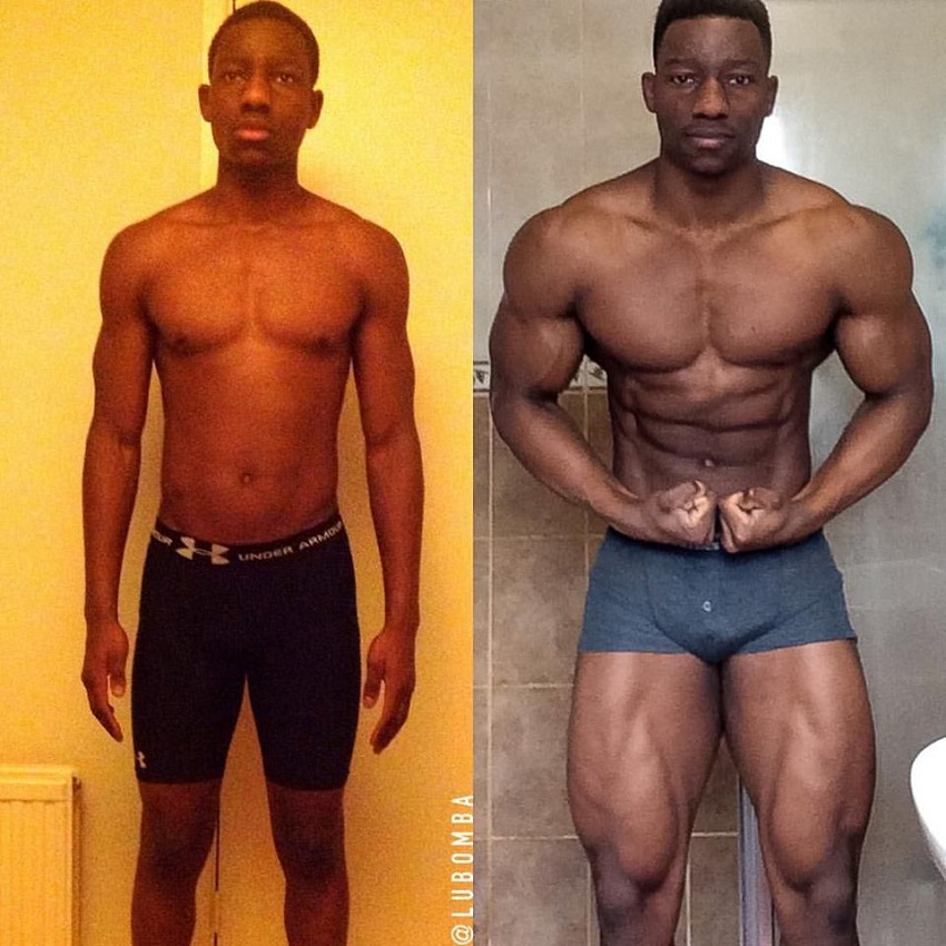 Lubomba Munkuli's body transformation in fitness and bodybuilding, from 60 kg to 95 kg