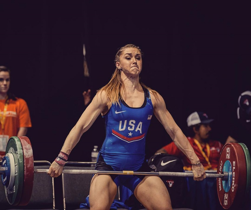 Mattie Rogers lifting heavy weights during a contest