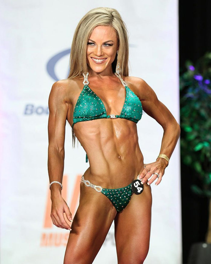 Niki Zager showing X body shape ideal for successful bikini competition