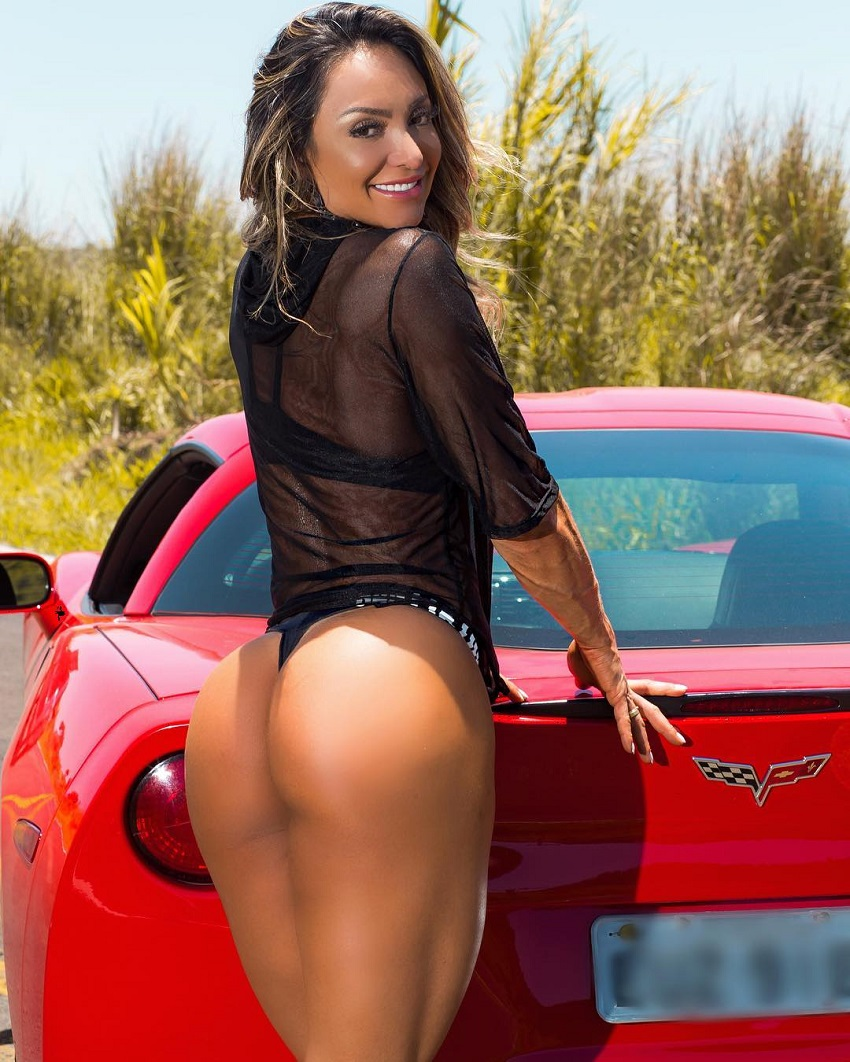 Pri Santtana leaning against a Corvette car showing off her clutes