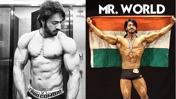 Thakur Anoop Singh in two different photos, winning Mr. World Fitness competition