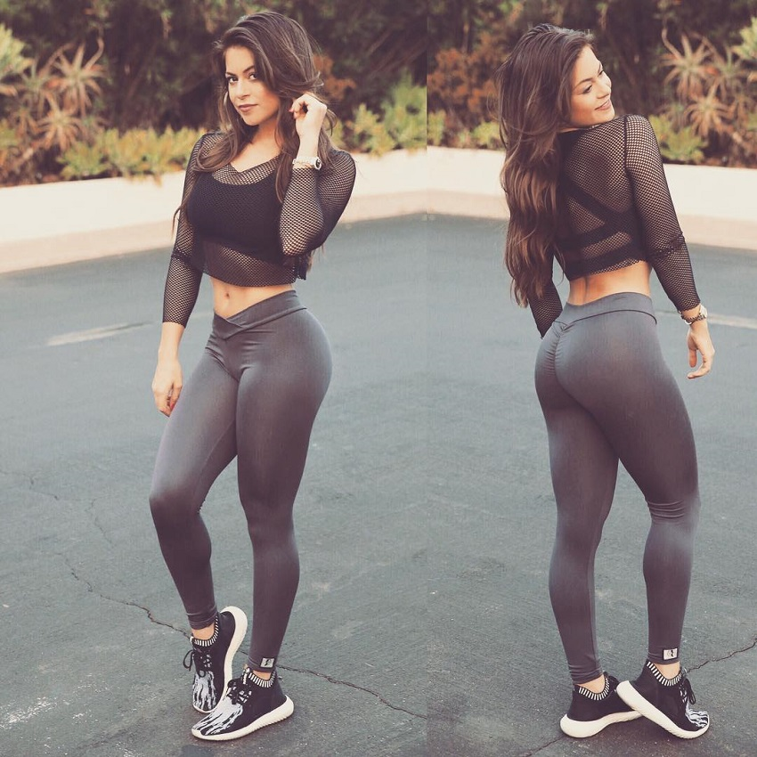 Angelica Kathleen in two different poses in leggings, looking curvy and toned