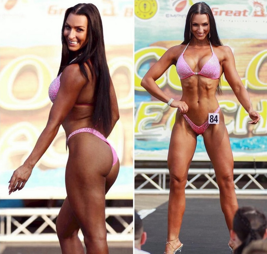 Eva Saischegg posing during a fitness contest in Austria