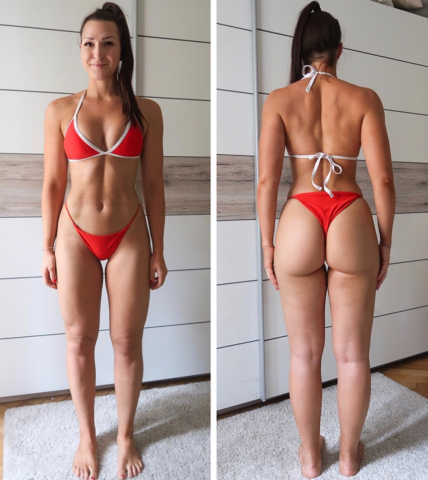 Eva Saischegg in two different poses showing off her curvy body